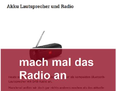 Mach mal Akku Radio an