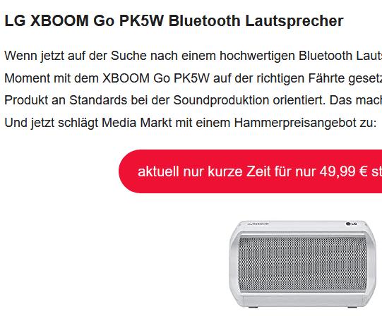 LG XBOOM Go PK5W Bluetooth Lautsprecher